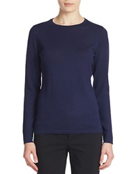 Lord And Taylor Merino Wool Basic Crewneck Sweater Evening Blue