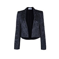 The Bee's Sneeze Black Flower Brocade Tuxedo Blazer