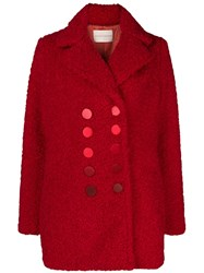 Marco De Vincenzo Double Breasted Coat Red