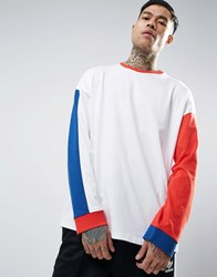 Asos Oversized Long Sleeve T Shirt With Mismatch Sleeve And Panelling In Heavyweight White