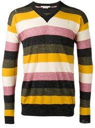 Marc Jacobs Striped V Neck Sweater Yellow Orange