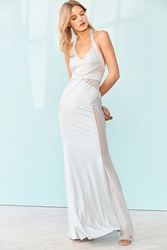 Silence And Noise Electra Mesh Maxi Dress Silver