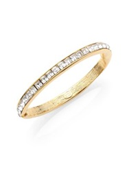 Kenneth Jay Lane Square Cut Hinged Bangle Bracelet Clear Gold Crystal