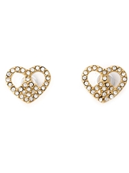 Marc By Marc Jacobs Crystal Embellished Heart Peace Earrings