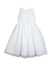 Joan Calabrese Sleeveless Floral Tulle And Organza Special Occasion Dress White
