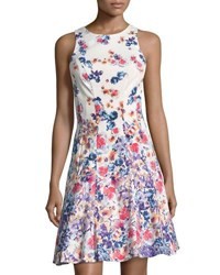 Maggy London Floral Print Fit And Flare Dress Purple Pattern