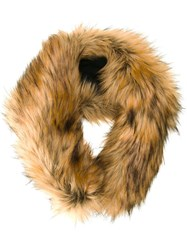Le Ciel Bleu Faux Fur Muffler Brown
