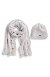 Barbour Cable Knit Hat And Scarf Set White Ice White
