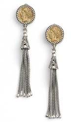 Konstantino Coin Tassel Drop Earrings Silver Bronze