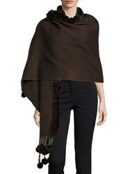 Gorski Rabbit Fur Trim Knit Wrap Brown