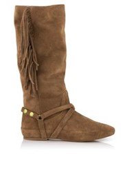 Jerome Dreyfuss Arizona Fringed Suede Boots Tan
