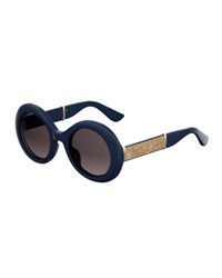 Jimmy Choo Wendy Round Metallic Sunglasses Blue Metallic