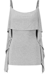 Bailey 44 Draped Stretch Jersey Top Gray
