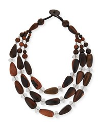 Viktoria Hayman Triple Strand Crystal And Wood Necklace Silver