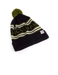 Tuck Shop Co. Lincoln Park Striped Pompom Beanie Black