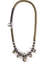 Lanvin Long Chain Crystal Necklace Metallic