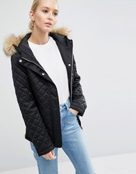 Asos Padded Jacket With Faux Fur Black