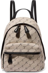 Stella Mccartney Mini Embroidered Faux Leather Trimmed Canvas Backpack Off White