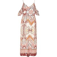 River Island Womens Cream Print Cold Shoulder Frilly Maxi Dress