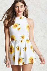 Forever 21 Floral Print Romper White Yellow