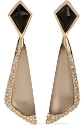 Alexis Bittar Gold Tone Stone Acrylic And Crystal Clip Earrings Metallic
