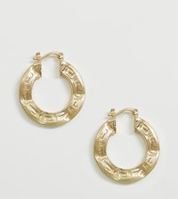 Designb London Hammered Gold Mosaic Hoop Earrings
