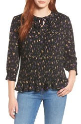 Everleigh Tie Neck Pleated Top Black Mini Floral