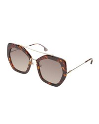 Alice Olivia Bowery Square Sunglasses Brown Pattern