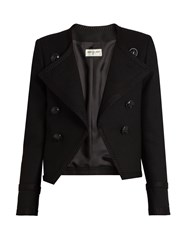Saint Laurent Spencer Cropped Wool Jacket Black