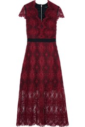 Catherine Deane Garland Guipure Lace Midi Dress Burgundy