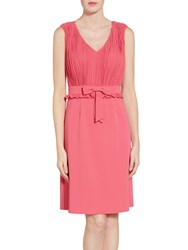 Gina Bacconi Crepe Dress With Pleated Chiffon Bodice Coral Red