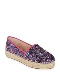 Kate Spade Lindstoo Leather And Glitter Platform Flats Purple