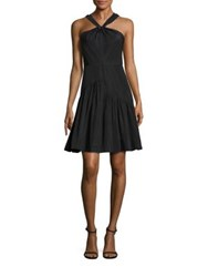Rebecca Taylor Taffeta Halter Dress Black
