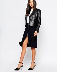 Mango Zip Front Skirt Navy