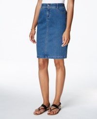 Charter Club Tummy Control Denim Skirt Only At Macy's Nantucket Wash