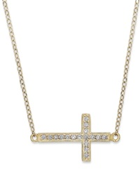 Studio Silver 18K Gold Over Sterling Silver Necklace Cubic Zirconia Accent Sideways Cross Pendant