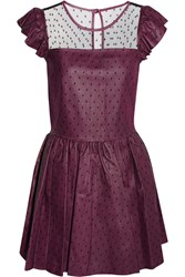 Red Valentino Point D'esprit And Leather Mini Dress