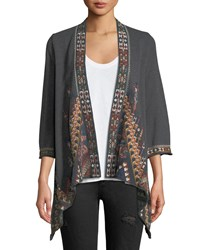 Johnny Was Nala Embroidered Knit Draped Cardigan Charcoal Grey
