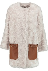 Emilio Pucci Leather Trimmed Mohair And Cotton Blend Coat