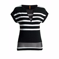 Conquista Fashion Striped Top With Sheer Detail Black