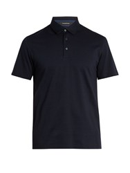 Ermenegildo Zegna Bi Colour Cotton Polo Shirt Black Navy