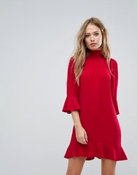 Sisley High Neck Dress With Frill Sleeves Red