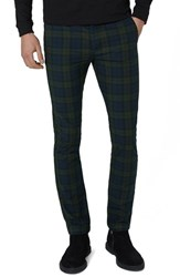 Topshop Topman Black Watch Check Stretch Skinny Fit Trousers Green Multi