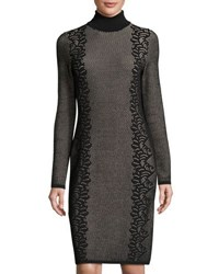 Neiman Marcus Fitted Turtleneck Jacquard Dress Black Pink