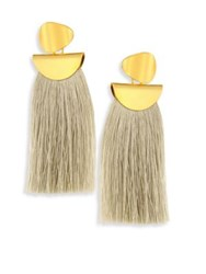 Lizzie Fortunato Crater Fringe Earrings Light Green