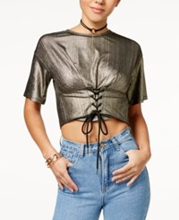 Material Girl Juniors' Metallic Cropped Corset Top Created For Macy's Gold Combo