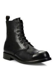 Alexander Mcqueen Steel Toe Leather Lace Up Boots Black
