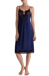 In Bloom By Jonquil Women's Satin Midi Nightgown Navy Black