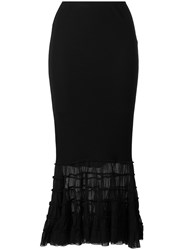 Jean Paul Gaultier Vintage Ruffled Mesh Panel Skirt Black