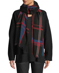 Eileen Fisher Chenille Plaid Wool Cotton Scarf Lacquer